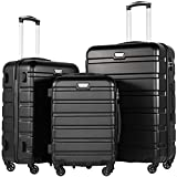 COOLIFE Hartschalen-Koffer Trolley Rollkoffer Reisekoffer mit TSA-Schloss und 4 Rollen(Schwarz, Koffer-Set)
