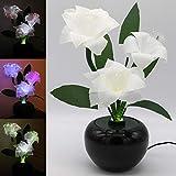 TRONJE LED-Kunstblume Weiß H:40cm Weihnachtsstern Christstern 3W LED-Blume 3 Blüten optische Fasern Farbwechsel