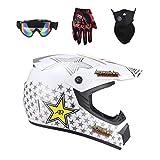 Lvguang Unisex Schutzhelm Mopedhelm Motocross Helm für Motorrad Crossbike & Motorrad Gezeichnete Gesichtsmaske & Motorradbrille & Handschuhe für Motorräder (Weiß#4)