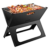 Ledeak BBQ Holzkohlegrill, Faltbare Tragbarer BBQ Edelstahl Grill, Mini Portable Campinggrill Outdoor Picknickgrill, Rauchfreier Tischgrill Klappgrill für Camping Garten Barbecue Beach Party