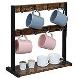 OROPY Vintage Tassenhalter mit 16 Haken, Kaffeetassenständer für Küchentheke, Esstisch, Bechergestell mit Aufbewahrungsboden für Becher, Kaffeekapsel, Zuckerdosen, 42x15x43 cm-Dunkelbraun