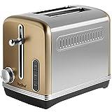 VonShef Automatik Toaster für 2 Scheiben 1150W – Champagnerfarben, Edelstahl – 6 Bräunungsstufen, entnehmbares Krümelfach – Auftau-, Aufwärm-, Abbruchfunktion, Brotschlitz 32 mm