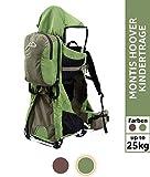 Montis Ranger Pro Kraxe Kindertrage mit Allen Extras bis 25kg Gewicht - für beide Elternteile inkl. Sonnen- & Regendach, Fußrasten, Regenschutz & Wickelmatte - Baby Carrier Gesamtpaket, GRÜN