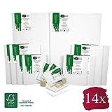 Artina FSC Keilrahmen 14er Set Akademie - 50x70, 30x40 cm, 24x30, 13x18 cm Leinwand Set - 100% Baumwolle 280g/m²