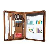 Leathario A4 Schreibmappe Portfolio Dokumenten-Mappe Konferenzmappe Reißverschluss, inkl. Schreibblock, Lederoptik Braun