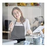Snlaevx Spuckschutz Hängender Acryl Schutzschild Thekenaufsatz Tischaufsatz Schutzschutz Hustenschutz Niesschutz für Counter Rezeption 40x40 cm (Transparent)