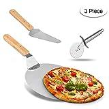 Weeygo Edelstahl-Radschneider mit Holzgriff, Pizzaschaufel, Bäckerutensilien, zum Backen von Pizza und Kuchen im Ofen & Grill, 3 Stück, Silber