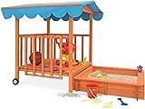 MaxxGarden Mobile Holz Sandkasten - Mit verstellbarem Dach - 130 x 130 x 143cm