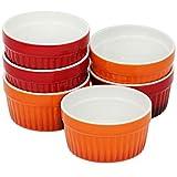 com-four® 6x Ragout Fin Schale - Ofenfeste Förmchen in rot und orange - Creme Brulee Schälchen - Dessertschale mit 185 ml