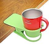 HOLLIHI Getränkehalter Clip – Tisch Schreibtisch Seite Wasserglas Bierflasche Tumbler Getränk Soda Tee Kaffee Tasse Halter Tasse Untertasse Clip Design für Home Office Grün