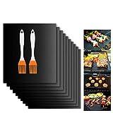 Grillmatte (12er Set), LIUMY BBQ Grillmatten für gasgrill, 220 bis 350 Grad, Wiederverwendbar Grillmatte & Backmatte, 40X33 cm, Antihaft - Matte für Fleisch, Gemüse & Grains (Schwarz)
