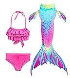 Hifunbay mädchen Meerjungfrau Schwanz Kinder Schwimmen Kostüm Enthalten 3 STÜCKE Bikini Badeanzug (DH52+WJF48,120)