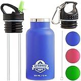 OUTDOOR DEPT Trinkflasche für Kinder Isoliert Edelstahl 350 ML BPA Frei - Thermo Kinder Trinkflasche aus Edelstahl mit Trinkhalm. Für Kohlensäure geeignet. 2 Deckel mit Karabiner und Reinigungsbürste