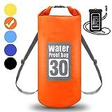 WIN.MAX Wasserdichte Wasserdichter Packsack mit Handybeutel, Orange, 10L