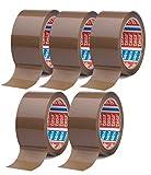 tesa 64014 Paketklebeband/Klebeband braun - leise abrollendes Packband - 50 mm breit - 66 m lang (66m x 50mm, 5 Rollen)