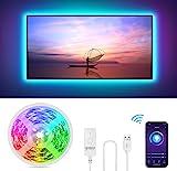 Gosund Alexa LED Strip USB, RGB Smart LED Streifen APP Steuerbar 5050 LED Musik Lichtband für 40-60' TV PC-Bildschirm Schlafzimmer, kompatibel mit Alexa Google Assistant Nur 2,4 G, Kein Weiß, 2.8M