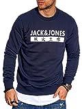 JACK & JONES Herren Sweatshirt Pullover Print Rundhals Streetwear 4 Elements (X-Large, Total Eclipse)