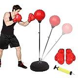 Ejoyous Punchingball Erwachsene Boxtraining Set Punching Punchingball Boxen Set Höhe verstellbar Stehen Boxen PunchingTasche mit Boxhandschuhen und Ständer 120-150 cm Rot