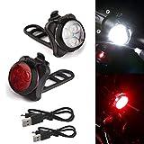 LED Fahrradlicht Set, huichang USB Wiederaufladbare Fahrradleuchte, Fahrradlampe Fahrradlicht, Rücklicht, Aufladbare Fahrradlichter mit 5 blinkenden Modi, 2 USB-Kabel (Rot & Weiß B)