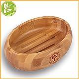 Grüne Valerie - Große edle nachhaltige Seifenschale/Seifenhalter/Soap Box Dish/aus Natur Holz (Bad, Dusche, Küche) - gereifter Bambus
