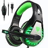 Pacrate Gaming Headset für PS4 PC Xbox One, LED Licht Crystal Clarity Sound, Kopfhörer mit 3.5mm Noise Cancelling Microphone (Schwarz Grün)