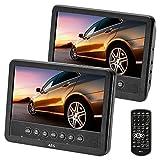 AEG portabler DVD-Player DVD 4555, 2X 17,8 cm (7 Zoll) LCD-Monitor, USB-Port, Card Slot, Fernbedienung, schwarz