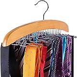Ohuhu Hochwertiger Krawattenhalter Gürtel Schals Zubehöre Aufbewahrung für Kleiderschrank - Drehbar Beweglich (24 Haken aus Holz)