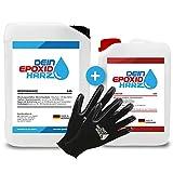 Epoxidharz mit Härter   10,2kg GfK set   Profi Qualität glasklar & geruchsarm   Gießharz für Holz + Schutzhandschuhe