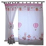 TupTam Kinderzimmer Vorhäng mit Schleifen 2er Set, Farbe: Eulen 2 Rosa, Größe: ca. 155x95 cm