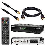 Kabel Receiver DVB-C Set von HB DIGITAL: Comag DKR60 HD DVB-C Receiver für Kabelfernsehen + HDMI Kabel + 1m Antennenkabel mit Mantelstromfilter schwarz (Full HD HDTV HDMI SCART USB)
