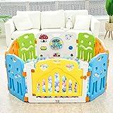 Baby Vivo Laufgitter Laufstall Baby Absperrgitter Krabbelgitter Schutzgitter für Kinder aus Kunststoff mit Tür und Spielzeug - Colors erweiterbar