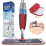 Fixget Sprühwischer, 300ML Bodenwischer mit Sprühfunktion mit Sprühdüse, Bodenwischer mit Sprühfunktion für schnelle Reinigung, Spray Mop Wischmopp mit Wassertank und 2-Mikrofaserbezug (Rot)