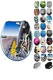 Grafner® MDF WC Sitz mit Absenkautomatik viele schöne Motive zur Auswahl - stabile Qualität - einfache Montage WC Deckel Klobrille Softclose (Motorbike)