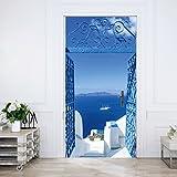 murimage Türtapete Santorini 86 x 200 cm inklusive Kleister Meer Tor Weiß Blau Türkis Treppen Griechenland Mittelmeer Fototapete