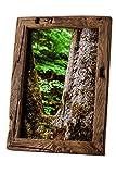 Bilderrahmen Alt-Holz aus alter Eiche – Vintage / Rustikal Rahmen als besonderes Geschenk für Hochzeit oder Geburtstag in Dunkel-Braun – Reine Handarbeit (13 x 18)