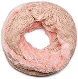styleBREAKER warmer Feinstrick Loop Schal mit Flecht Muster und sehr weichem Fleece Innenfutter, Schlauchschal, Unisex 01018150, Farbe:Altrose