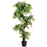COSTWAY Zimmerpflanze Deko, Kunstpflanze grün, Dekopflanze künstlich, Kunstbaum Pflanzendekoration Innendekoration für Zuhause Garten Büro (160x19x19cm)