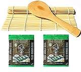 Sushi Roll Matte aus Bambus + Reislöffel + 2x 10 Nori Algenblätter sushiset sushimatte sushialgen