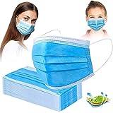 Mundschutz Maske 50 Stück, 3-lagige Einweg Maske, Mund- und Nasenmaske, Blau