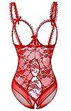 Acramy Damen Reizwäsche Body Offener Schritt Große Größen Dessous Ouvert (L, Rot)