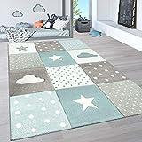 Paco Home Kinderteppich, Kinderzimmer Pastell Teppich mit 3D Wolken u. Stern Motiven, Grösse:80x150 cm, Farbe:Blau 3