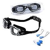 riptide Schwimmbrille - Taucherbrille in schwarz I mit Ohrenstöpsel und Nasenklammer I für Erwachsene und Jugendliche