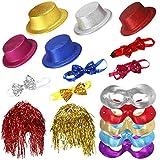 Ucradle 17 Stück partyhüte Set mit Neonfarben Umfassen Lametta Perücke Fliegen Halbmaske Witzige Hüte für Photo Booth Party Geburtstag Weihnachten Cosplay Zubehör