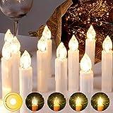 LED Weihnachtskerzen Kabellos Kerzen Weihnachtsbaumkerzen Christbaumkerzen mit Fernbedienung Timer Kerzenlichter
