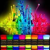Schwarzlicht Bodypainting Farben   UV Schminke & Neon Körperfarben Set   8 x 20 ml Leuchtfarben von LUMINOUS