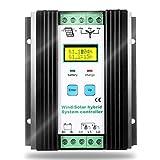 SolaMr 1000W Solarladeregler Wind Energy Solar Hybrid Laderegler 12V/24V Automatische Identifikation mit LCD Display - Wind: 600W + Solar: 400W