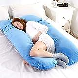 Windyeu Schwangerschaftskissen Seitenschläferkissen Bauchschläferkissen für Schwangere U-förmig mit Abnehmbarem und Waschbarem Bezug (Blau)