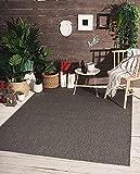 Mistra In- & Outdoor Teppich Flachgewebe, Modernes Design, Trendige Farben, Superflach, UV- und Witterungsbeständig, Anthrazit, 200 x 280 cm