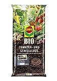 COMPO BIO Tomaten- und Gemüseerde für alle Garten- und Zierpflanzen, Sträucher, Büsche und Gehölze, Torffrei, Kultursubstrat, 40 Liter, Braun