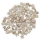 Healifty 100 Stücke Holz Blumen Scheiben Holzscheiben Naturholzscheiben Streudeko Tischdeko für DIY Basteln Handwerk Weihnachten Hochzeit Geburtztag Deko 20mm (Mischmuster)